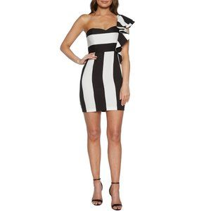 NWT Bartdot Stripe One-Shoulder Mini Dress Large